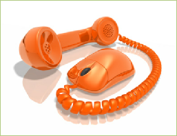 orange phone and mouse